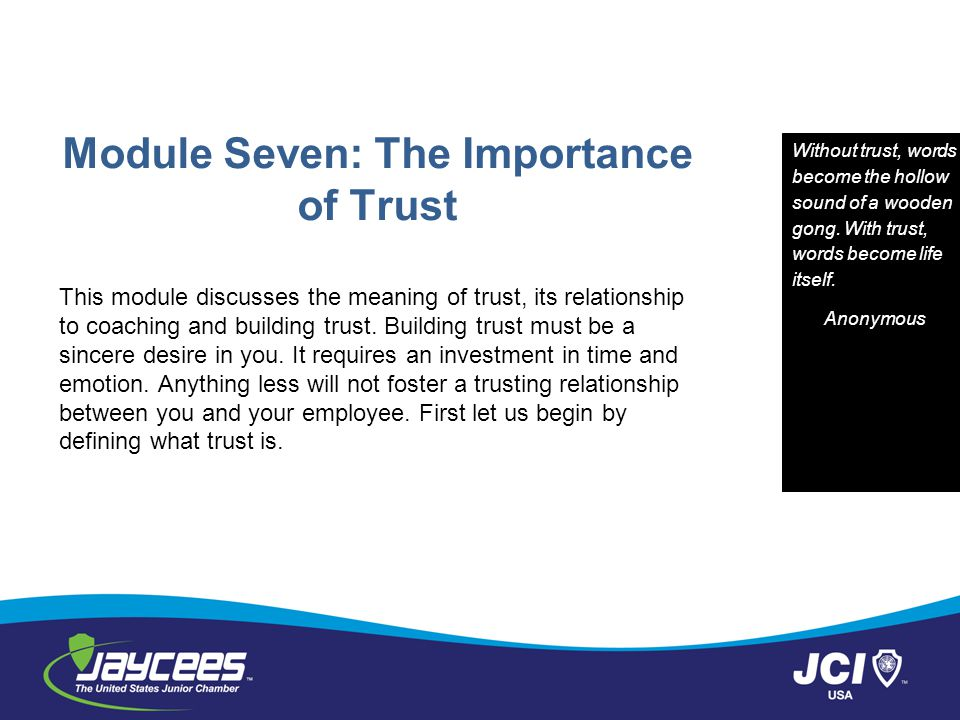 Module Seven: The Importance of Trust