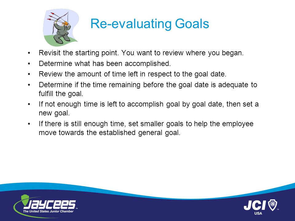 Re-evaluating Goals Revisit the starting point. You want to review where you began. Determine what has been accomplished.