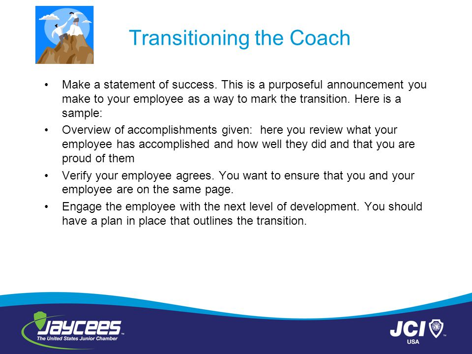 Transitioning the Coach
