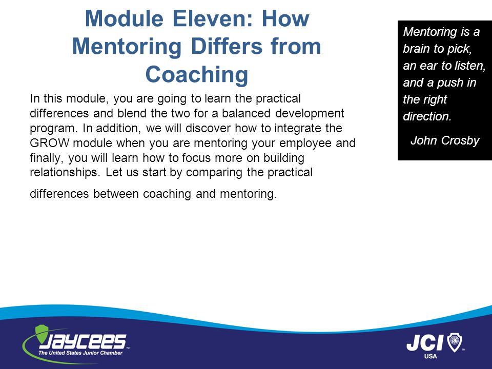 Module Eleven: How Mentoring Differs from Coaching