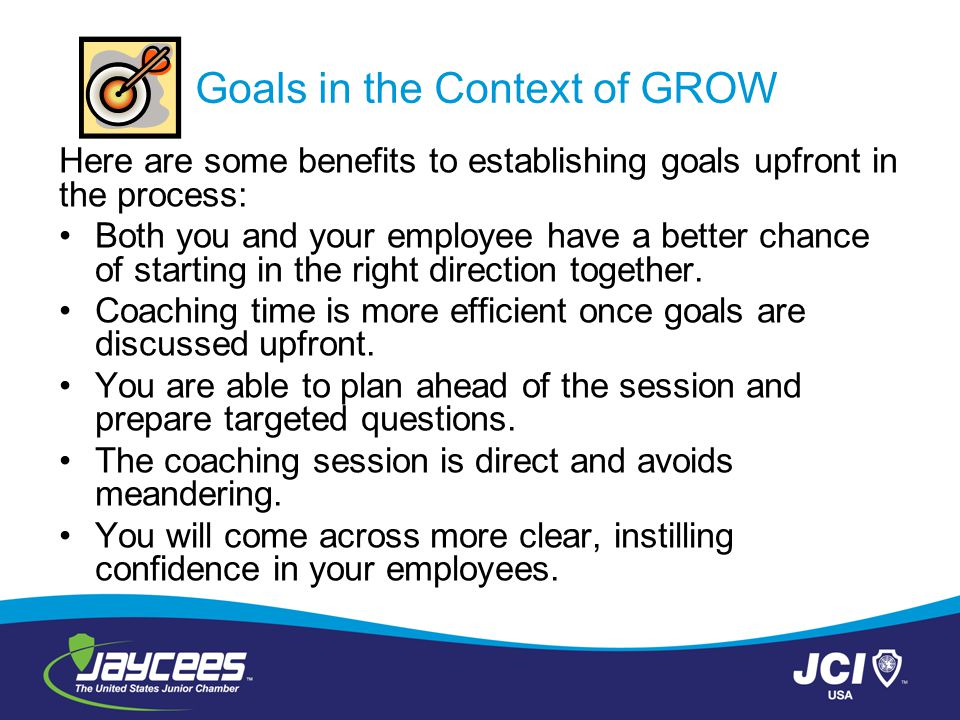 Goals in the Context of GROW