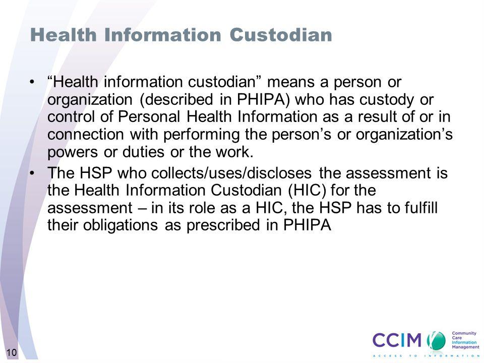 Health Information Custodian