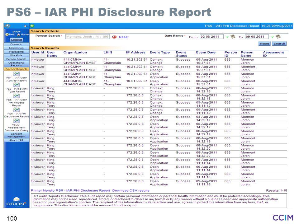 PS6 – IAR PHI Disclosure Report