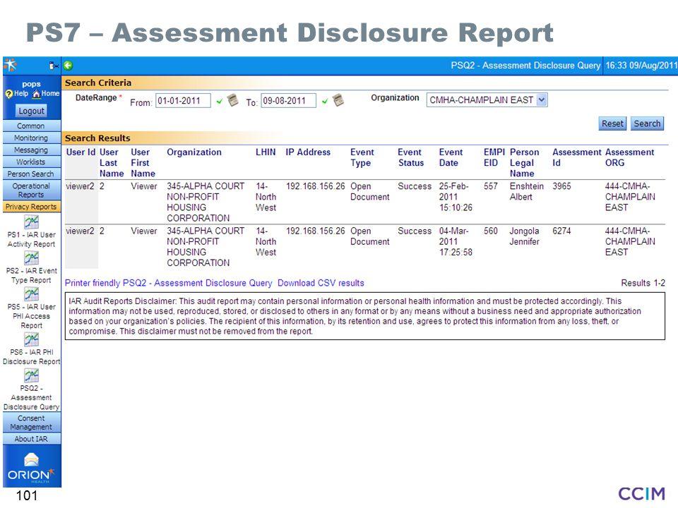 PS7 – Assessment Disclosure Report