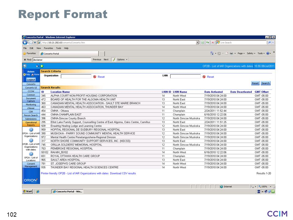 Report Format Intent: Show how formatting works in the web browser.