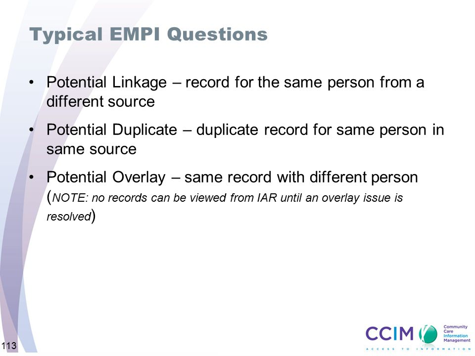 Typical EMPI Questions