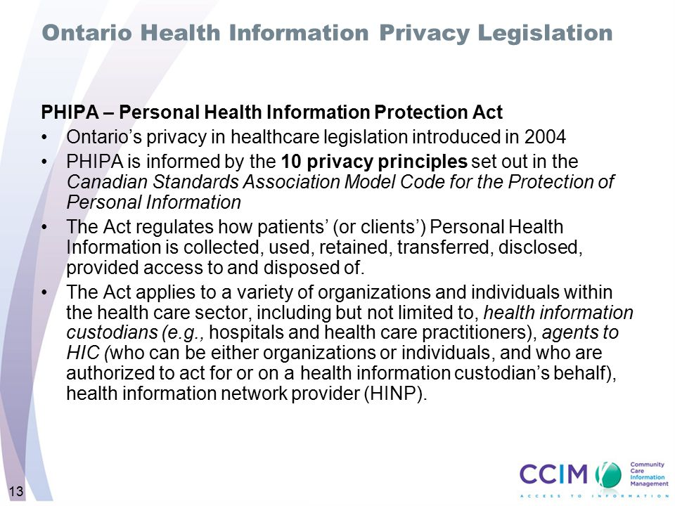 Ontario Health Information Privacy Legislation