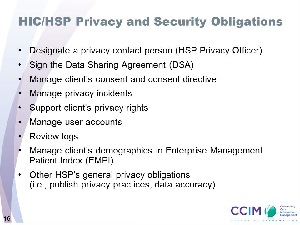 HIC/HSP Privacy and Security Obligations