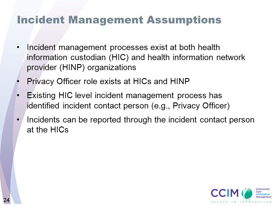Incident Management Assumptions