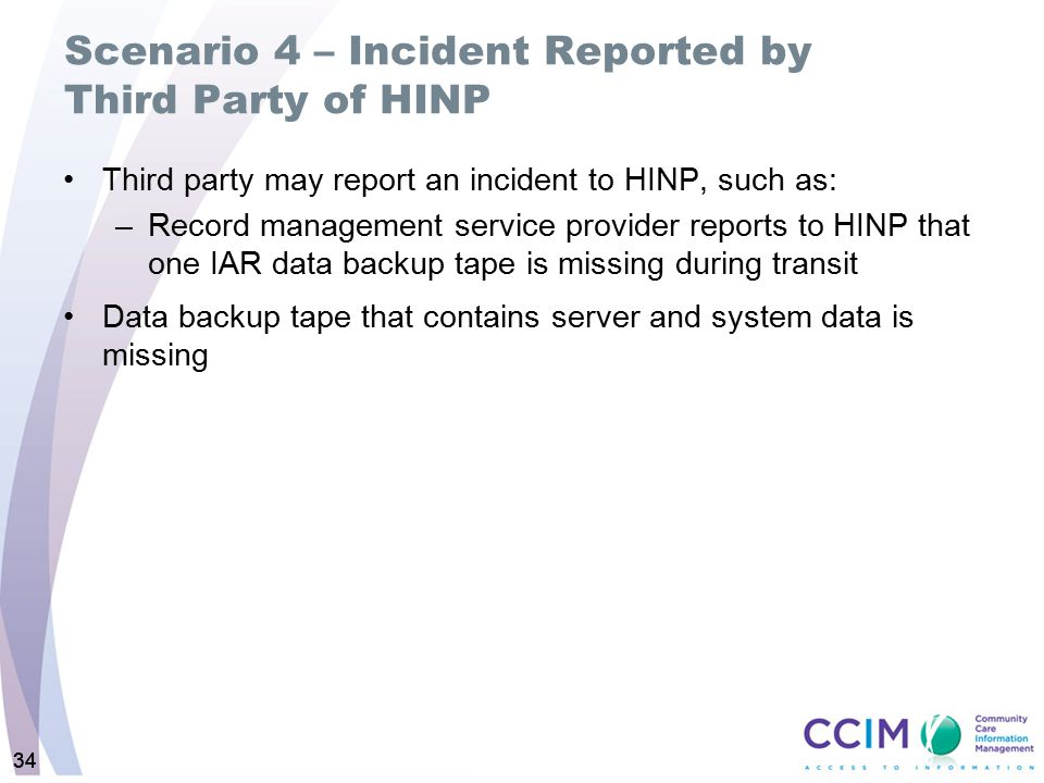 Scenario 4 – Incident Reported by Third Party of HINP