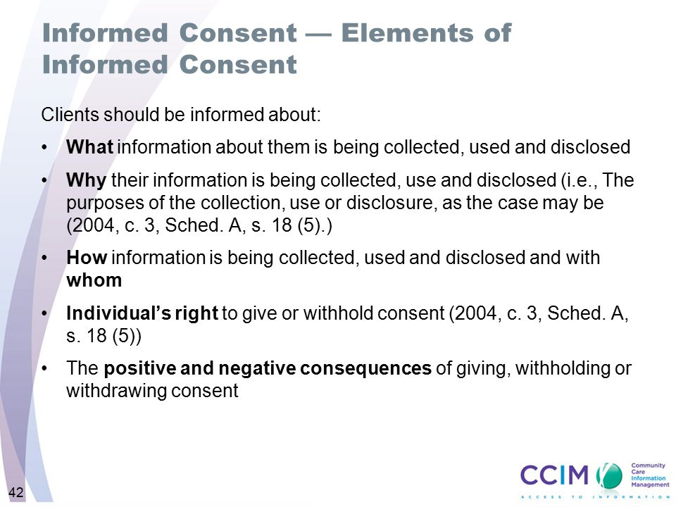 Informed Consent — Elements of Informed Consent
