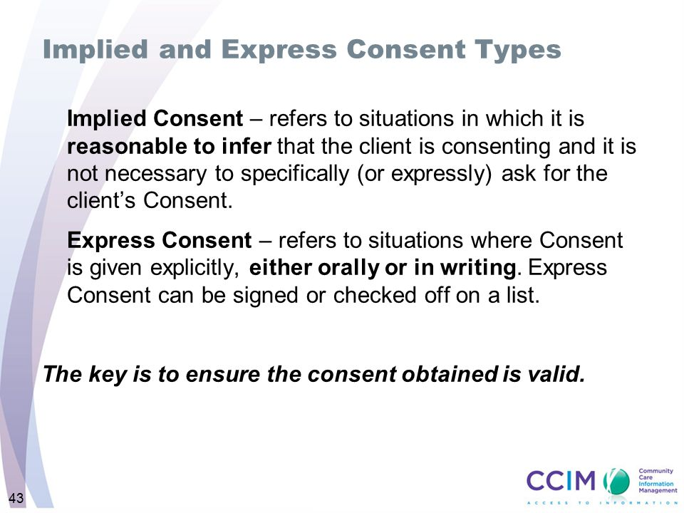 Implied and Express Consent Types