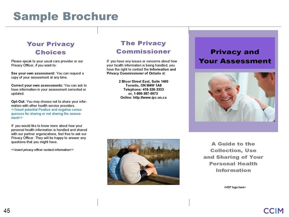 Sample Brochure Intent: To introduce an information brochure that can be given to clients who receive assessments.