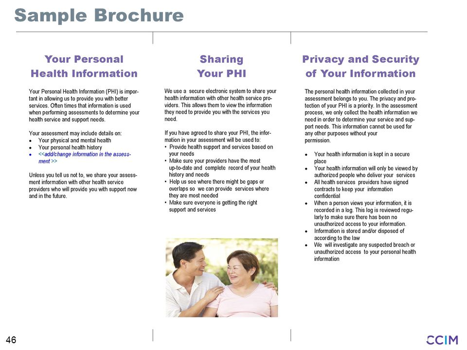 Sample Brochure Intent: To show page 2 of the information brochure for clients.