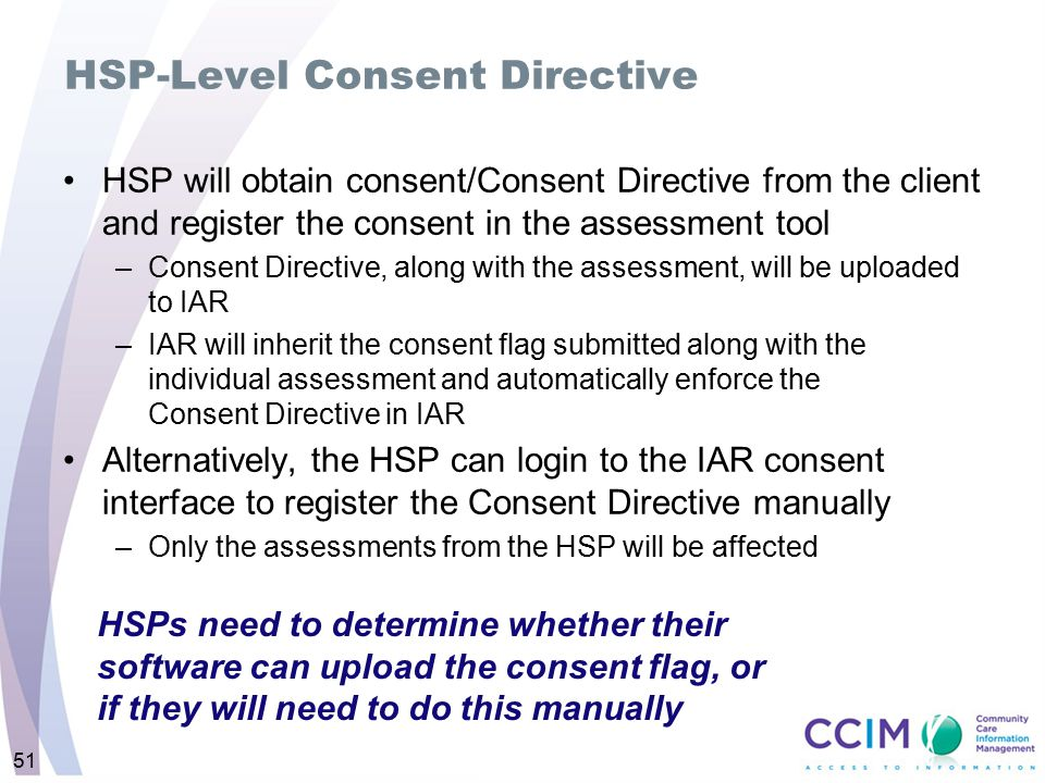 HSP-Level Consent Directive