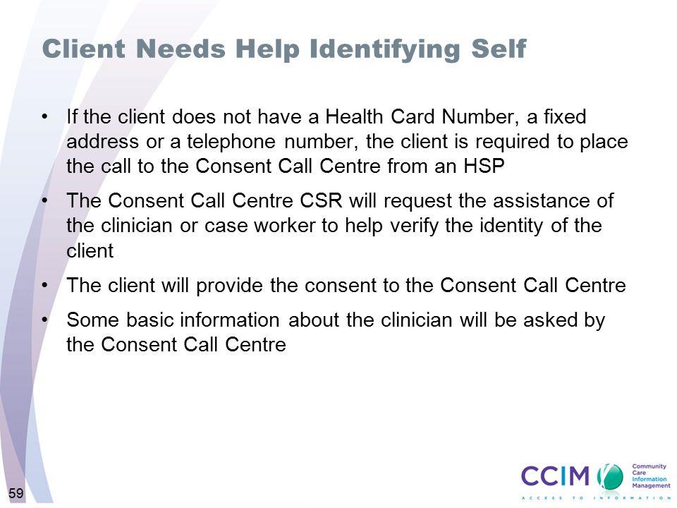 Client Needs Help Identifying Self