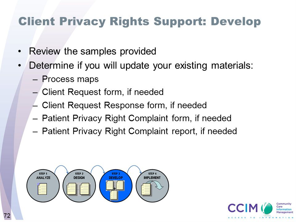 Client Privacy Rights Support: Develop