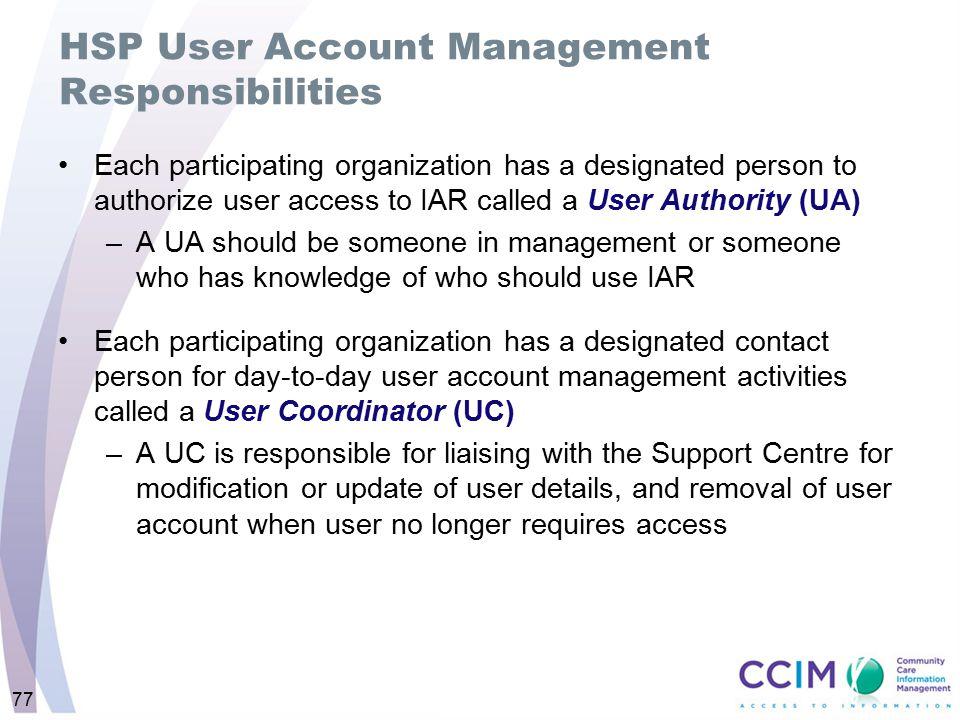 HSP User Account Management Responsibilities