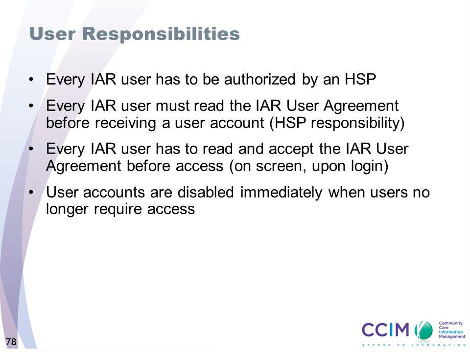 User Responsibilities