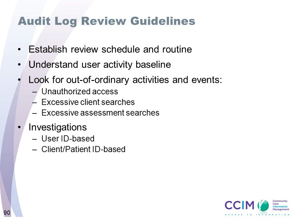 Audit Log Review Guidelines