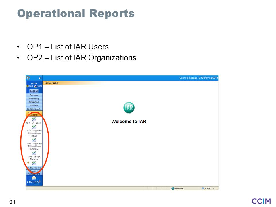 Operational Reports OP1 – List of IAR Users