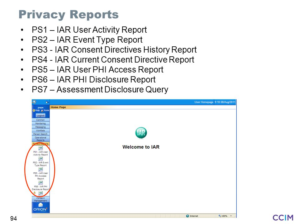 Privacy Reports PS1 – IAR User Activity Report