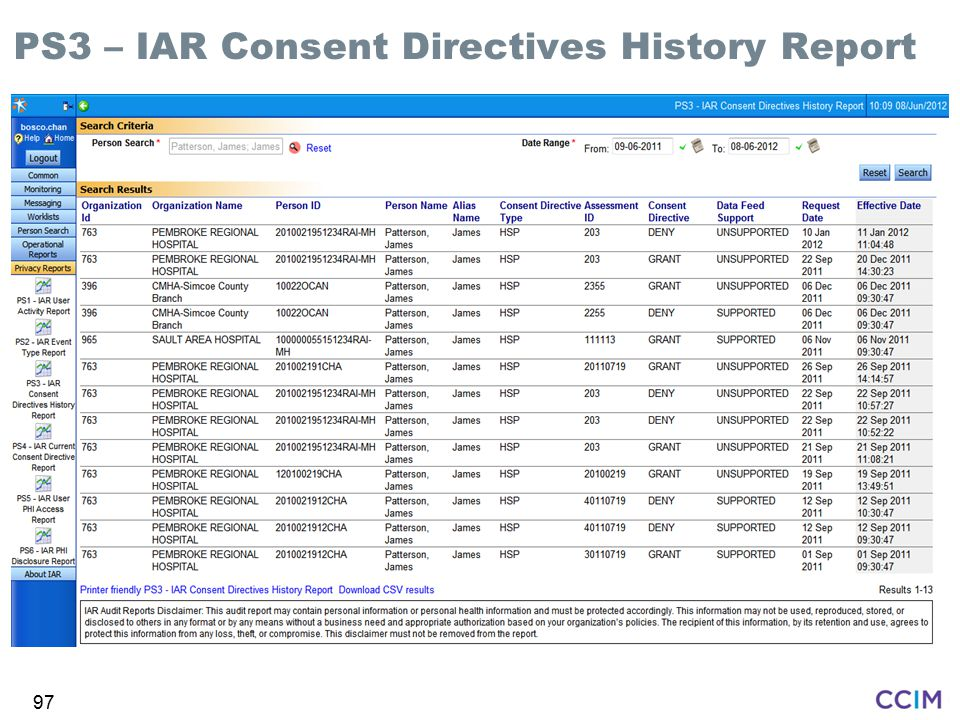 PS3 – IAR Consent Directives History Report