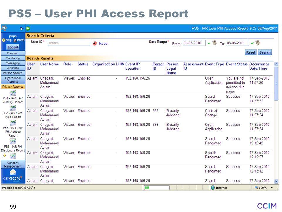 PS5 – User PHI Access Report