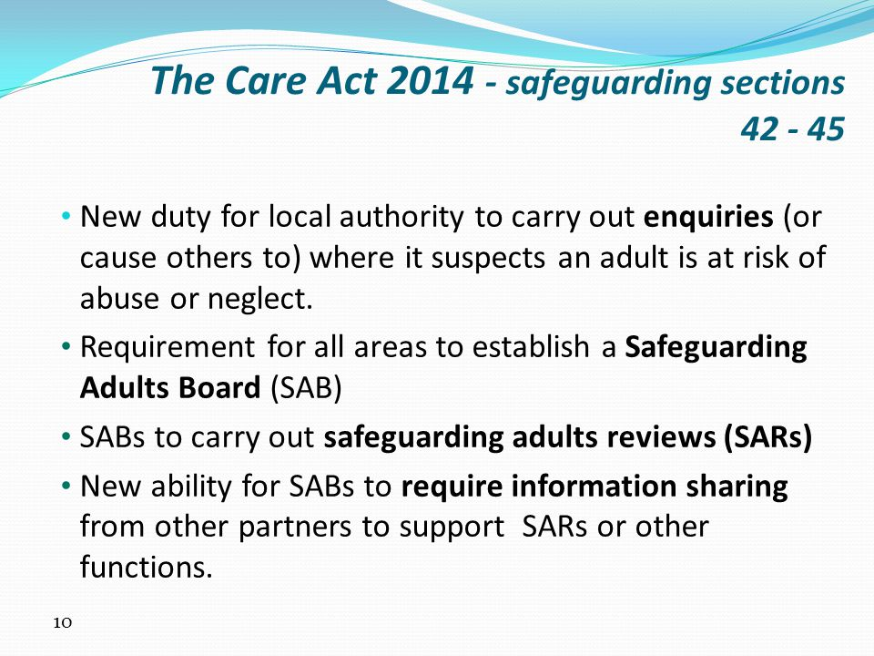 The Care Act 2014 - safeguarding sections 42 - 45