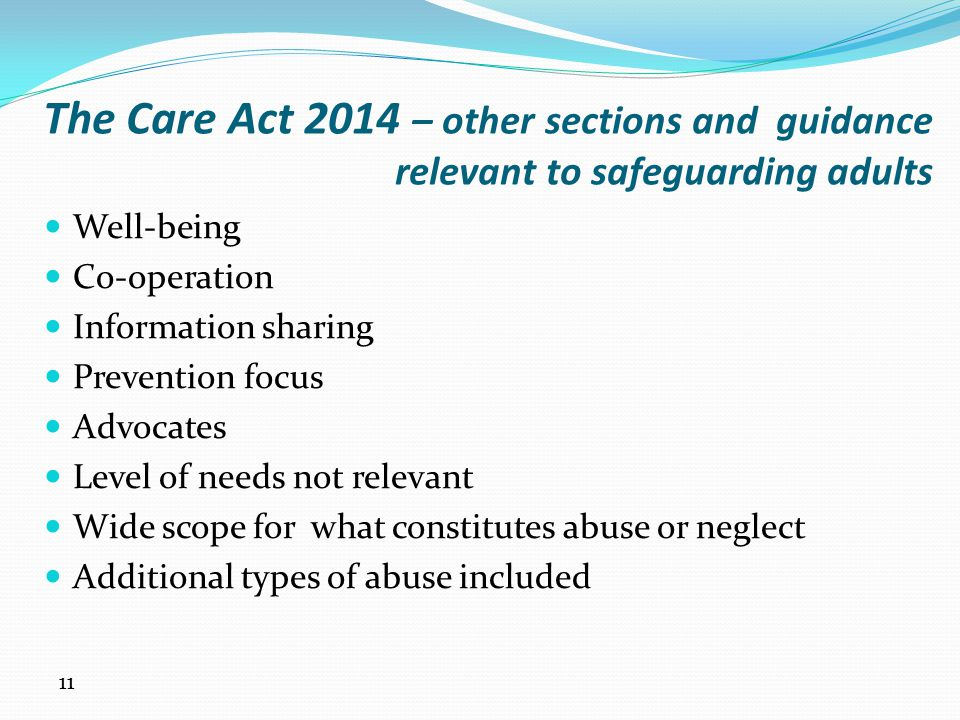 The Care Act 2014 – other sections and guidance relevant to safeguarding adults