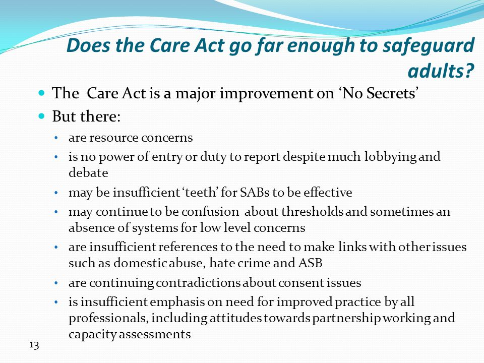 Does the Care Act go far enough to safeguard adults