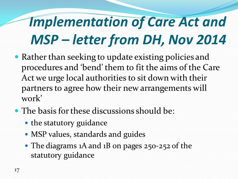 Implementation of Care Act and MSP – letter from DH, Nov 2014