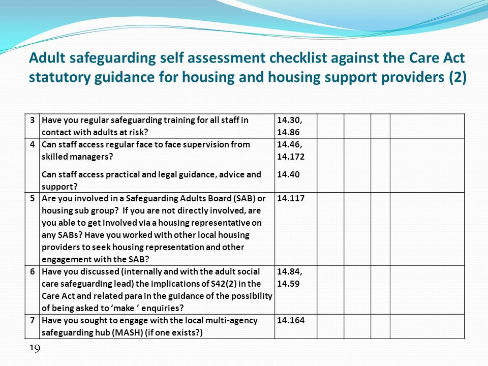 Adult safeguarding self assessment checklist against the Care Act statutory guidance for housing and housing support providers (2)