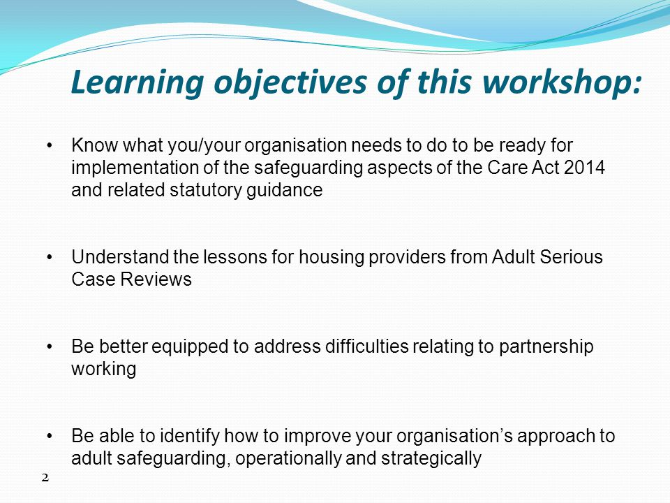 Learning objectives of this workshop: