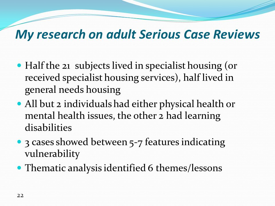 My research on adult Serious Case Reviews