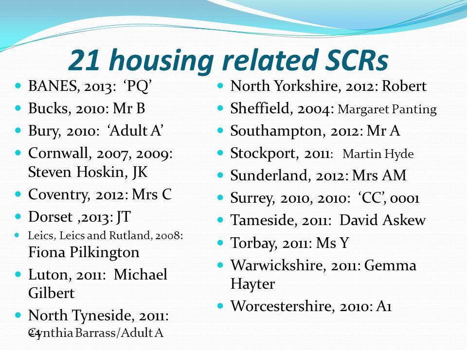 21 housing related SCRs BANES, 2013: 'PQ' Bucks, 2010: Mr B