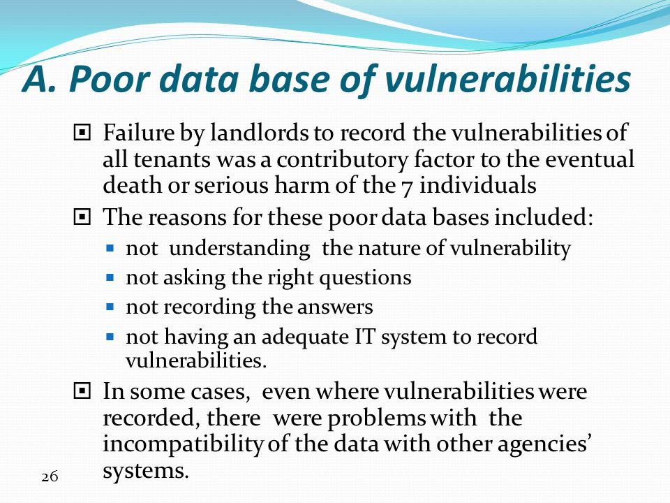 A. Poor data base of vulnerabilities