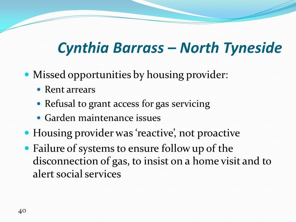 Cynthia Barrass – North Tyneside