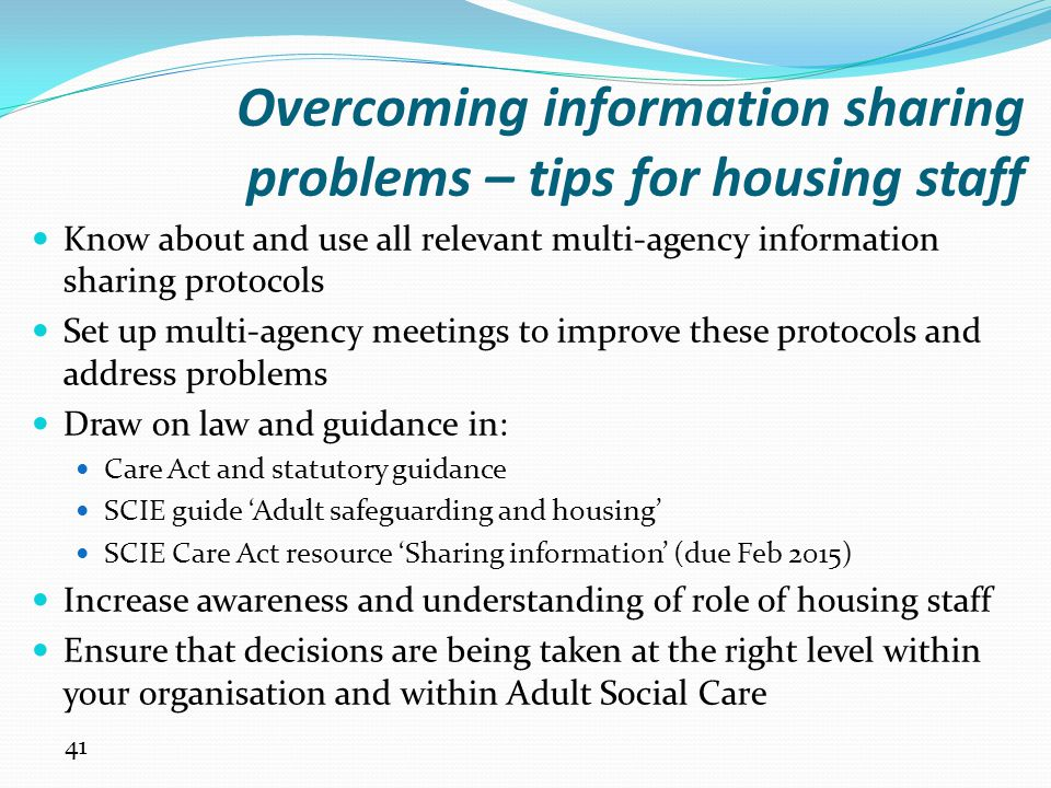 Overcoming information sharing problems – tips for housing staff