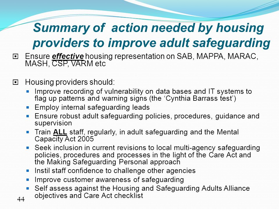 Summary of action needed by housing providers to improve adult safeguarding
