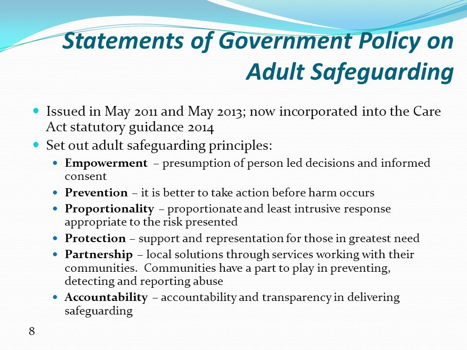 204 principles of safeguarding and protection Having an up to date child protection policy having other safeguarding policies,   the procedures are based on the principle that the welfare of the child is the  most important consideration  kidscape: 08451 205 204 wwwkidscapeorguk.