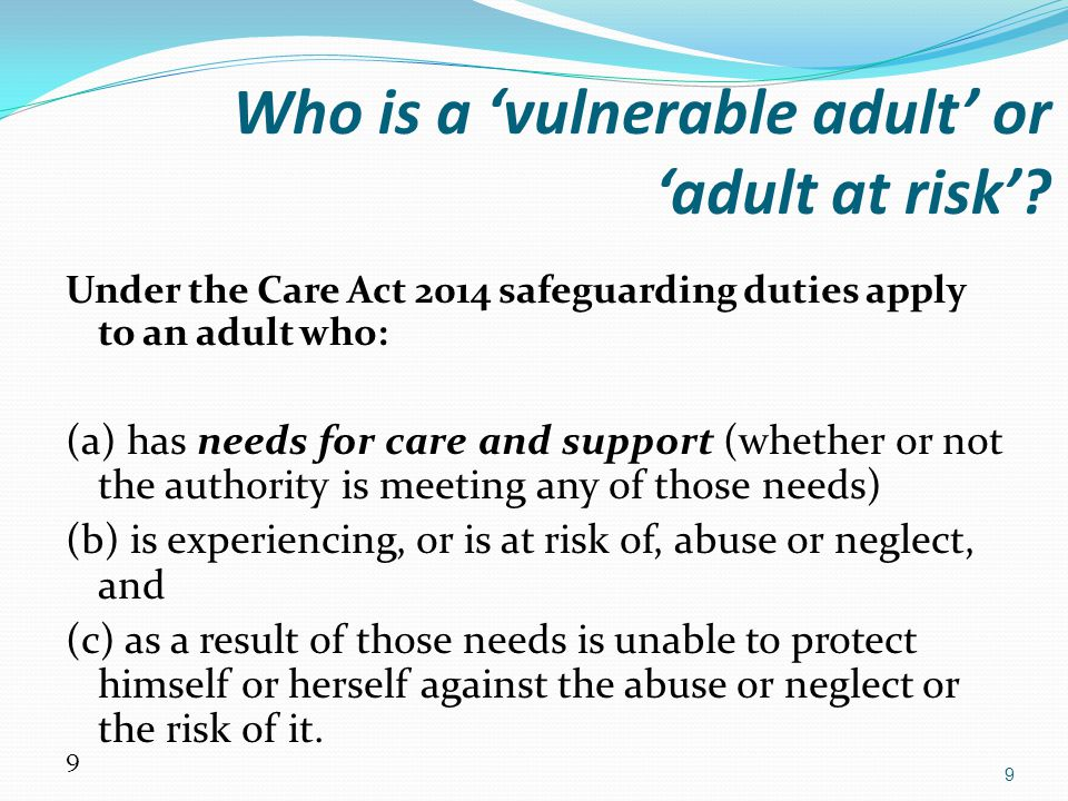 Who is a 'vulnerable adult' or 'adult at risk'