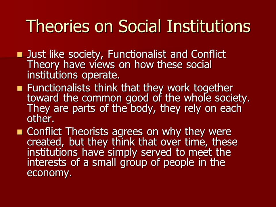 Theories on Social Institutions