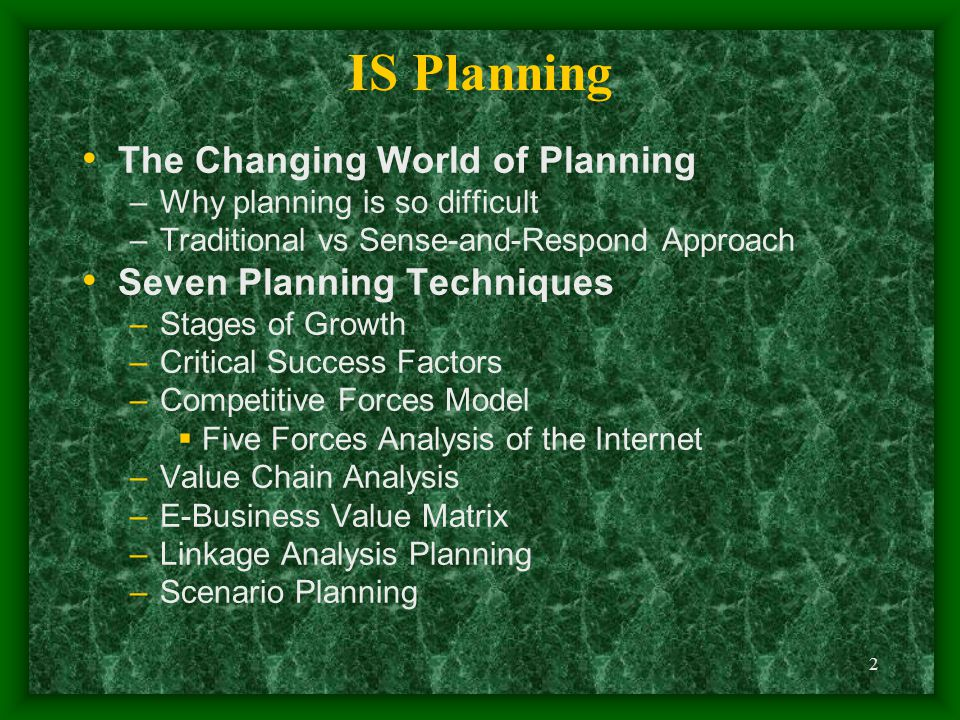IS Planning The Changing World of Planning Seven Planning Techniques