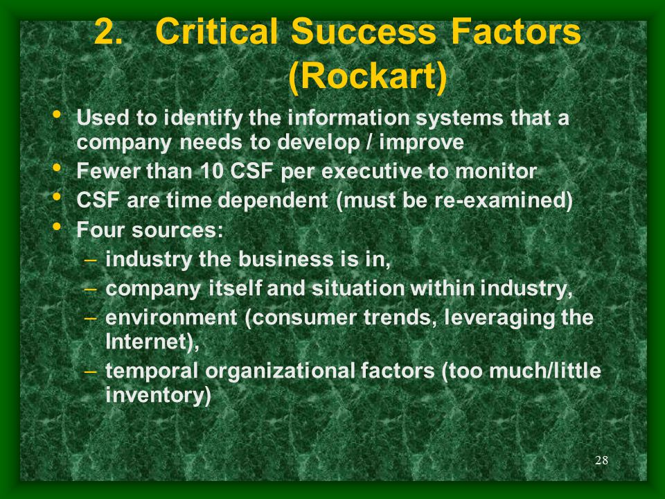 Critical Success Factors (Rockart)