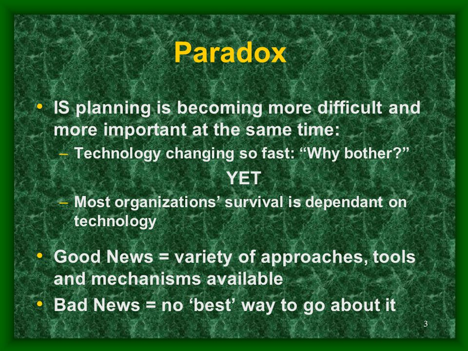 Paradox IS planning is becoming more difficult and more important at the same time: Technology changing so fast: Why bother