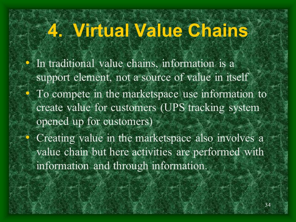 4. Virtual Value Chains In traditional value chains, information is a support element, not a source of value in itself.