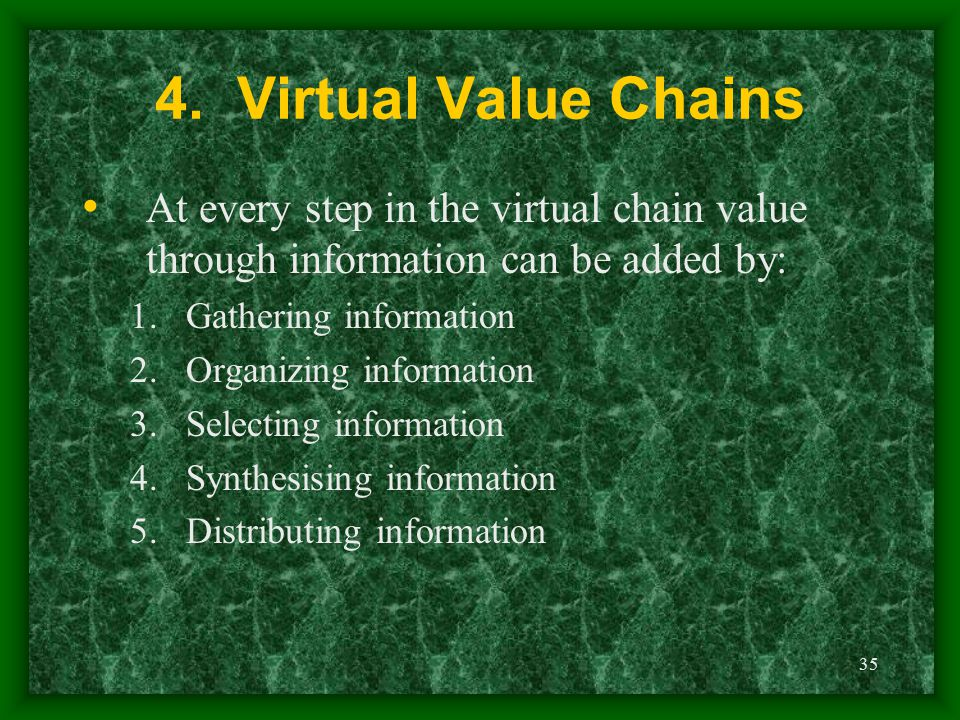 4. Virtual Value Chains At every step in the virtual chain value through information can be added by: