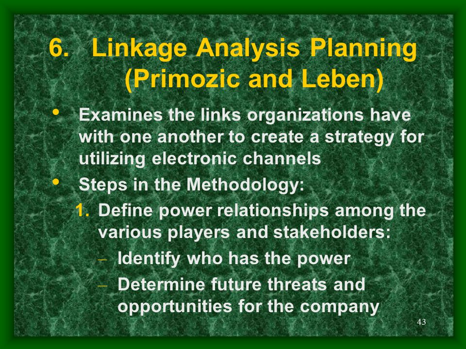 Linkage Analysis Planning (Primozic and Leben)