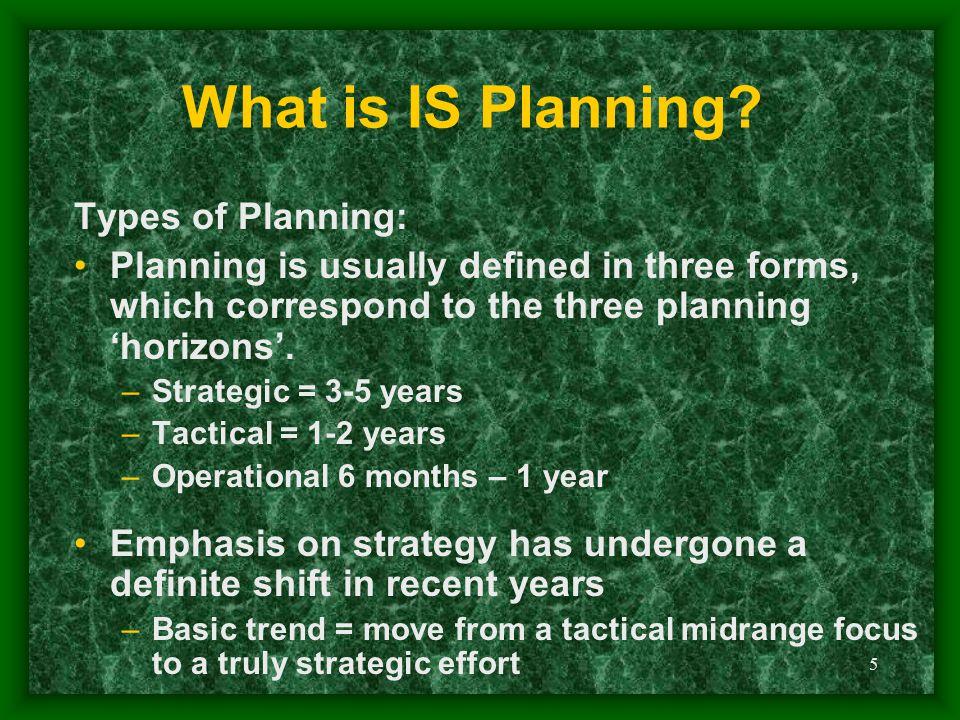 What is IS Planning Types of Planning: